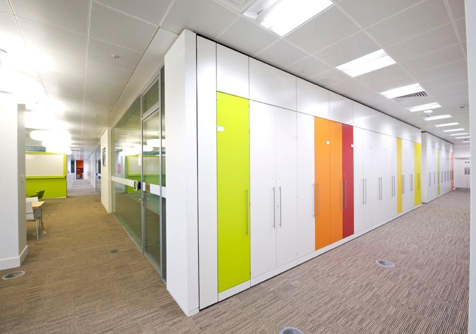 storagewall tallwall office workplace storage multi coloured bespoke storage