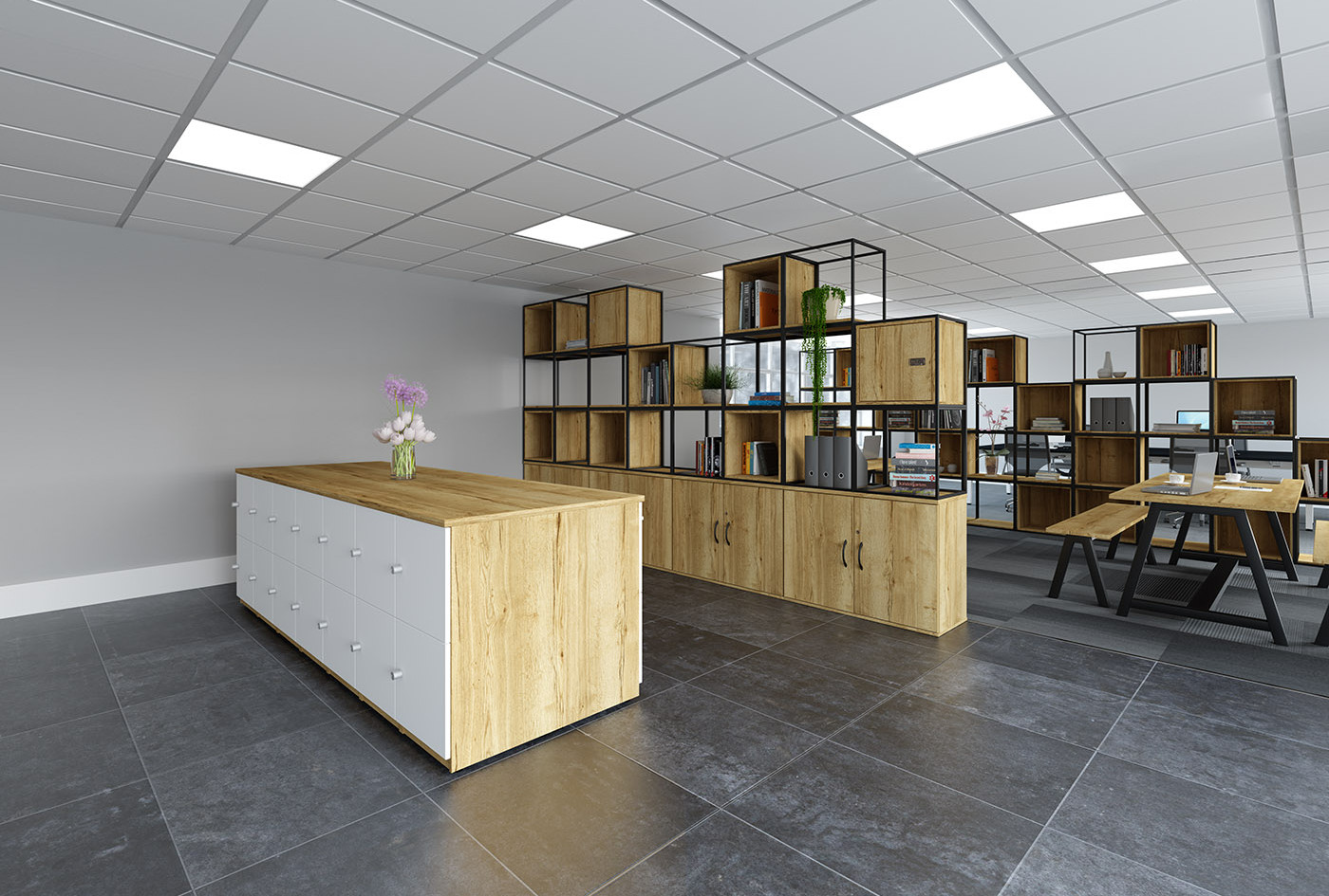 Grid office furniture for multifunctional workspace