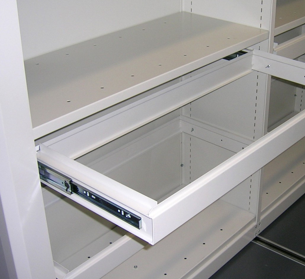 mobile roller racking pull out filing frame