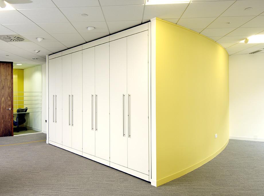 recessed storage wall bespoke office storage