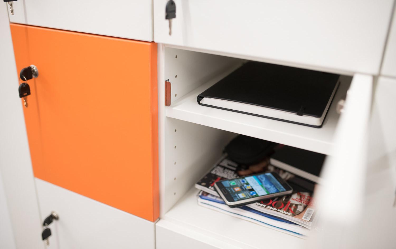 bespoke agile workplace locker shelf key lock