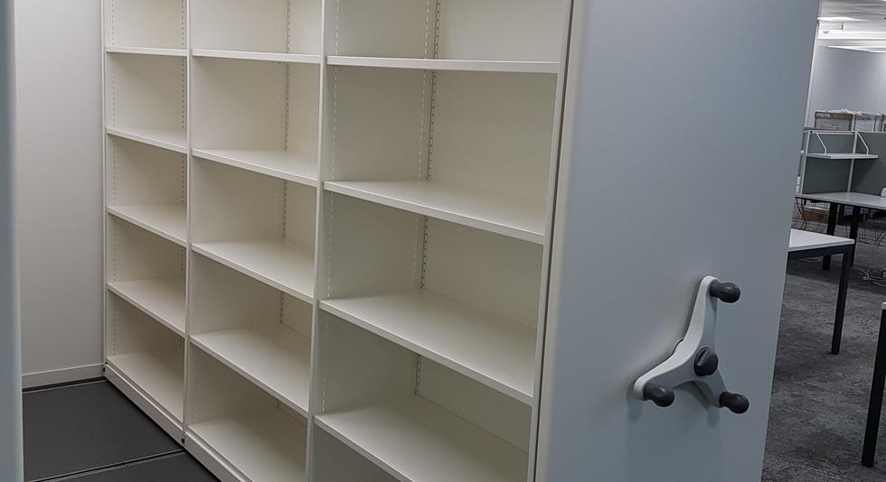 single mobile roller racking stacks archive shelving