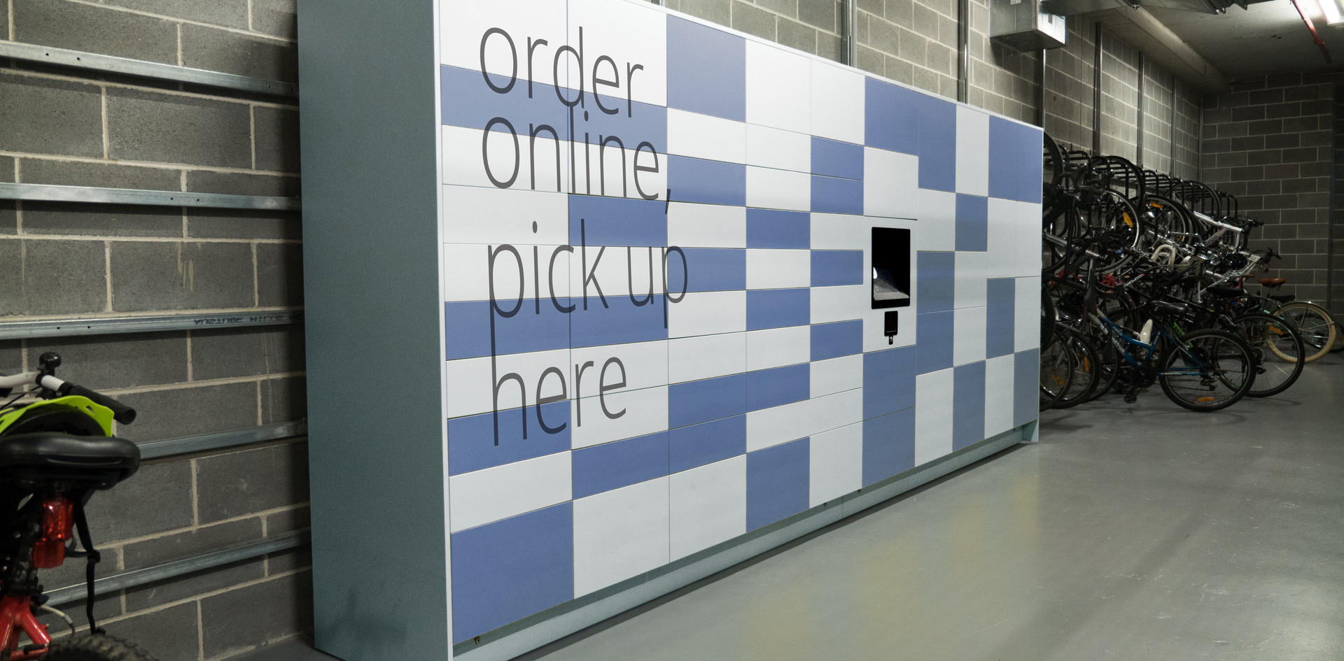 parcel pickup public access lockers screen access