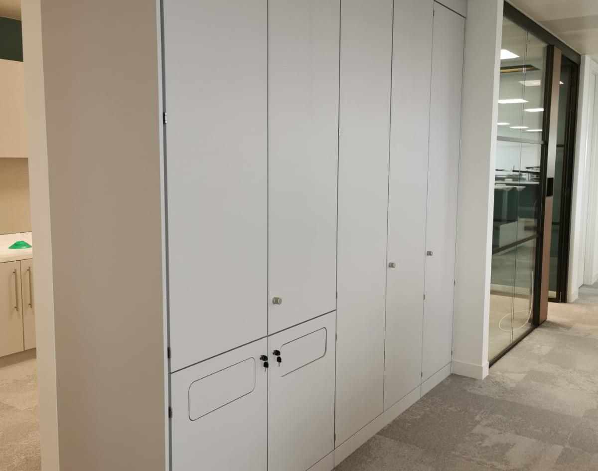 storage wall workplace coat storage recycling storage