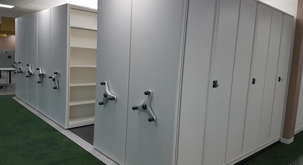 mobile roller racking high density filing medical records archive shelving filing storage