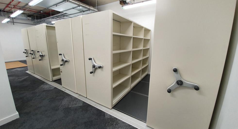 roller racking mobile storage shelving system locking handles
