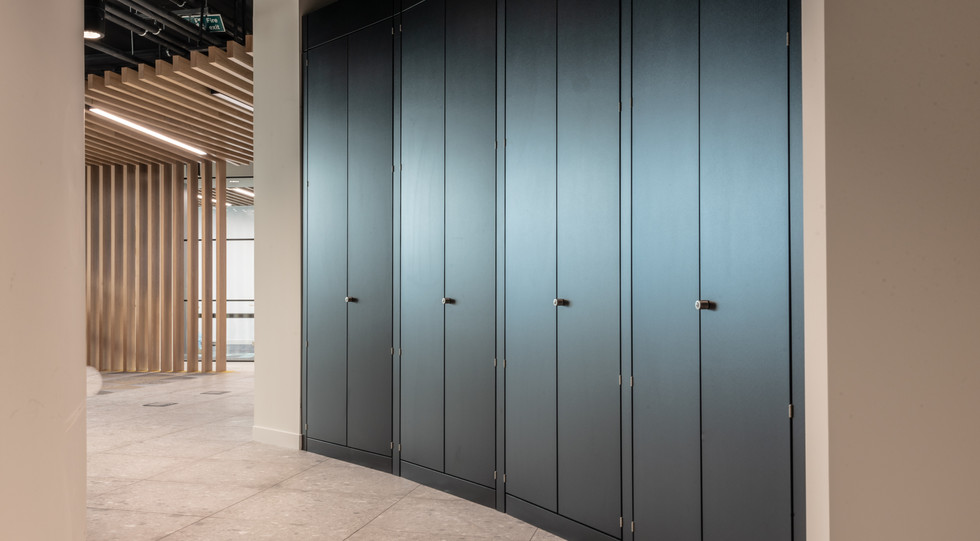 office bespoke curved storage wall