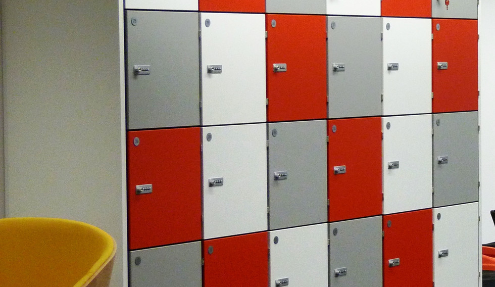 bespoke agile workplace smart lockers multi coloured doors storage unit combination locking