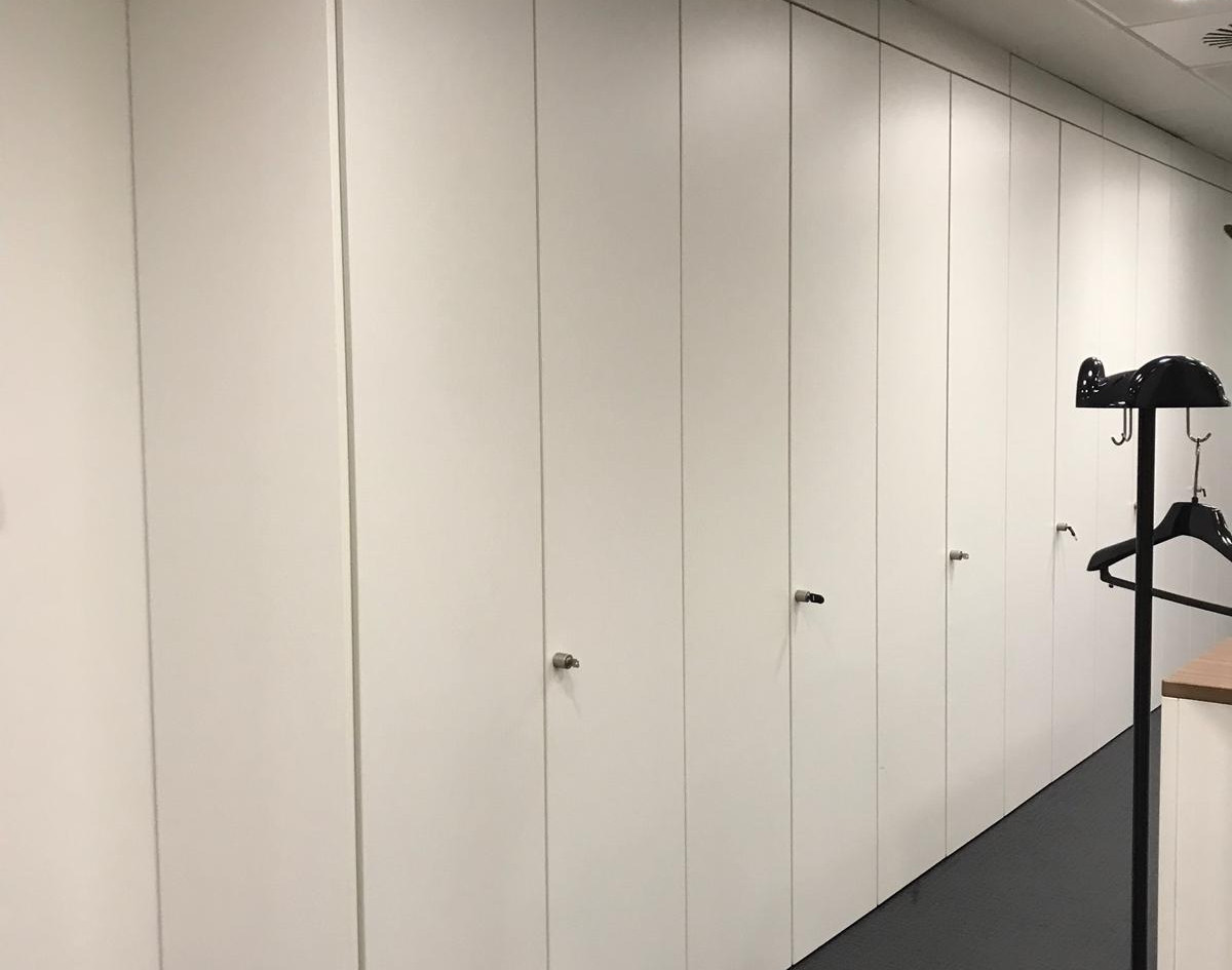 bespoke full height workplace storagewall