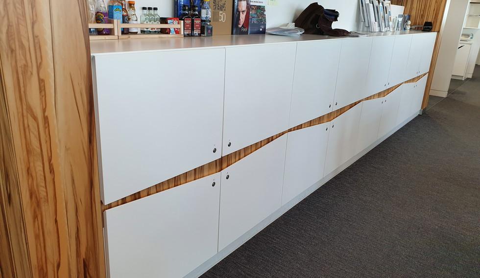 bespoke veneer workplace agile lockers worktop