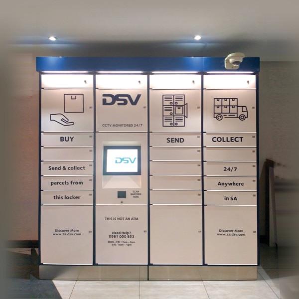 parcel pickup public access mail lockers screen access