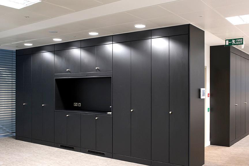bespoke storagewall tallwall office workplace coffee tea station