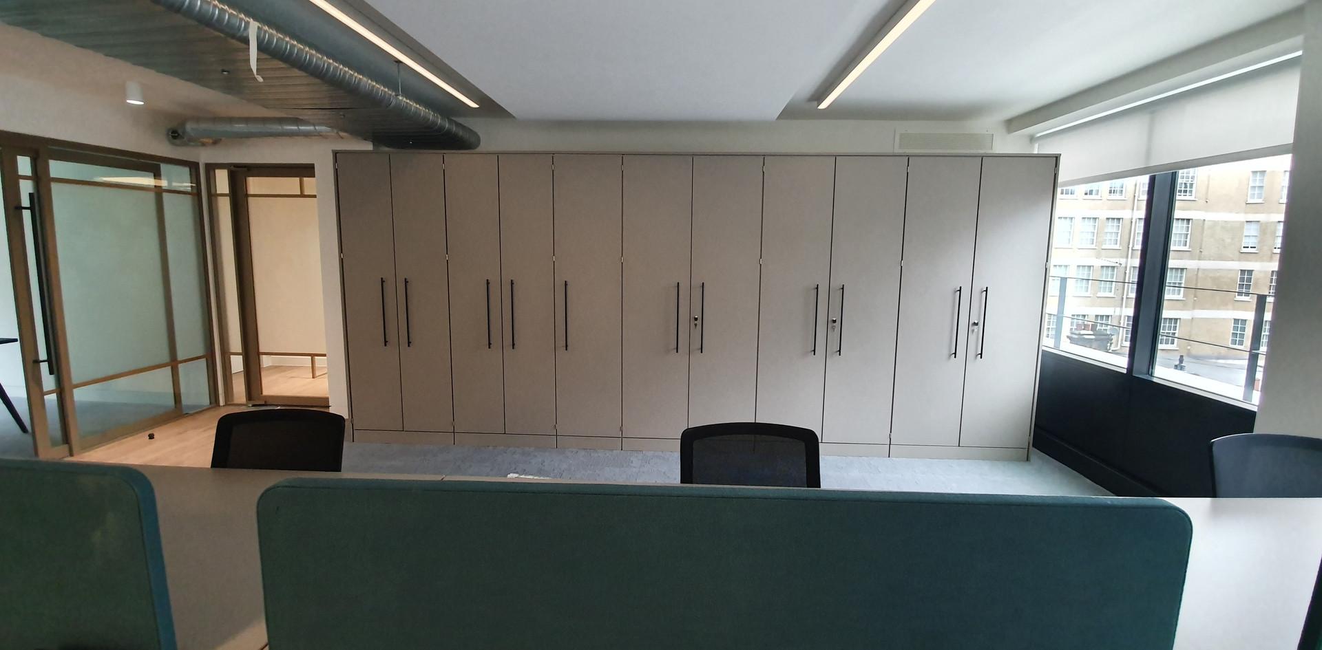 storage wall tallwall bespoke office coat shelves storage
