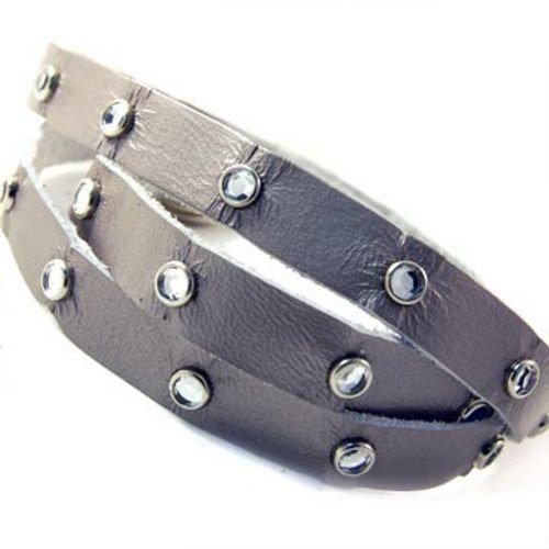 Loopy Wrap Rhinestones Leather Bracelet