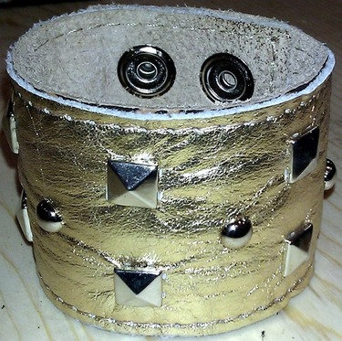 "Jasmine 2"" Pyramids and Rivets Money Leather Cuff"