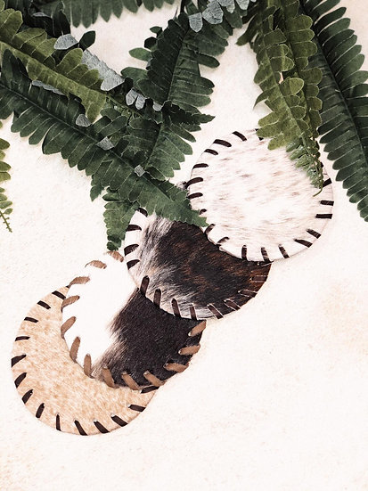 Round Leather Stitched Fur Coasters