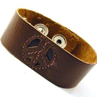 """1"""" Peace Leather Bracelet"""