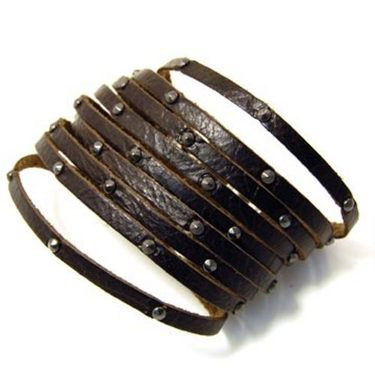 "Catarina 2"" Fringed Studded Leather Cuff"
