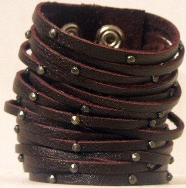 "3"" Fringe with Studs Leather Bracelet"