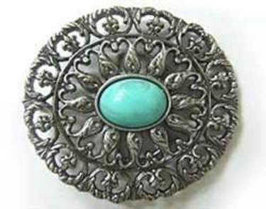 ROUND JADE STONE CENTER BUCKLE