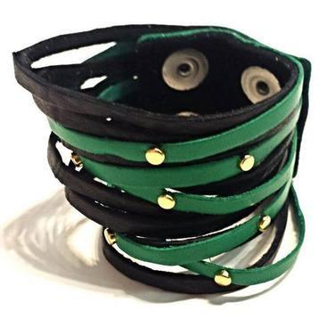 "2"" Fringe on Fringe Gold Leather Bracelet"