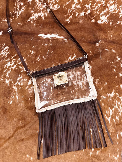 Kambrel  Clear Small East West Fringed Cross Body