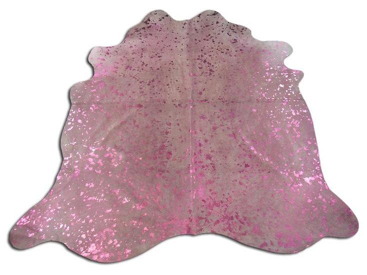 Hot Pink Metallic Cow Hide Rug