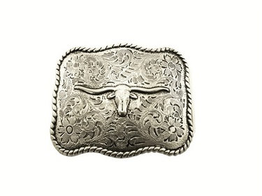 GOLD BULL WITH HORNS CENTER BUCKLE