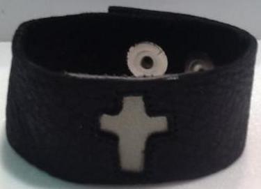 "Nadia 1"" Christian Cross Leather Cuff"