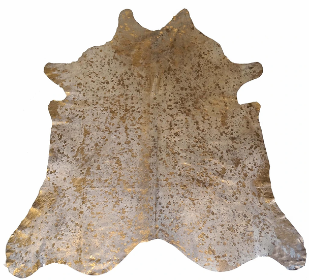 Gold on Ivory Cow Hide Rug