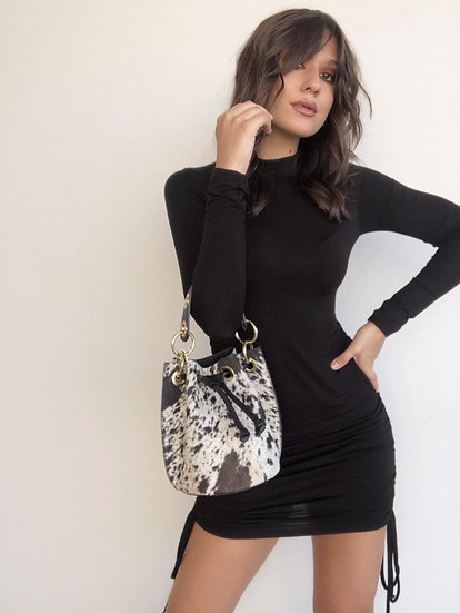 Gianna All Fur Bucket Small Handbag Cross Body