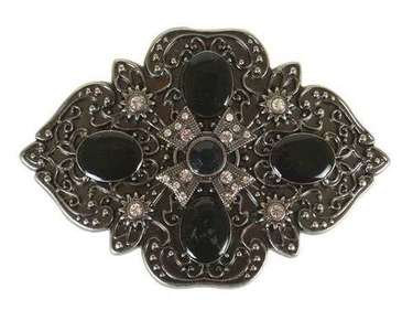 BLACK STONE SCULPTED OUTLINE BUCKLE