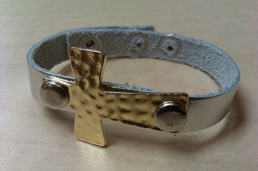 Thin Leather Bracelet with cross