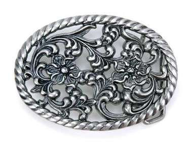 SILVER OVAL FLOWERS ROPE OUTLINE BUCKLE