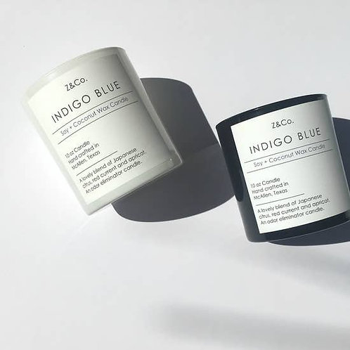 Z & Co Indigo Blue Soy and Coconut Wax Candle