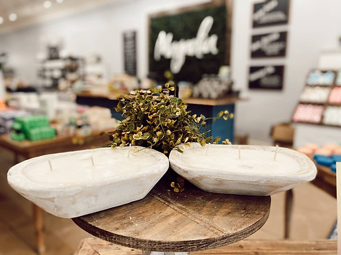 Magnolia Soy Wax Rustic Dough Bowl Candle - Magnolia scent