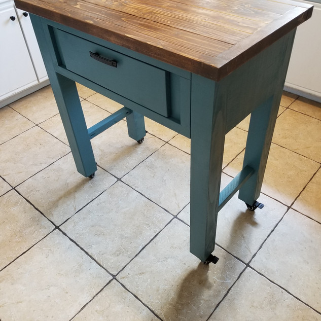 Kitchen Island on casters with drawer.jp