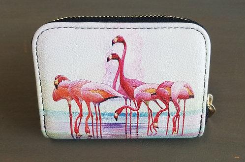 Zippered wallet -Flamingos