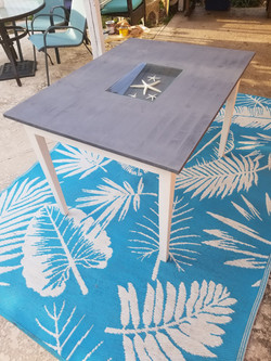 Glass insert dining table