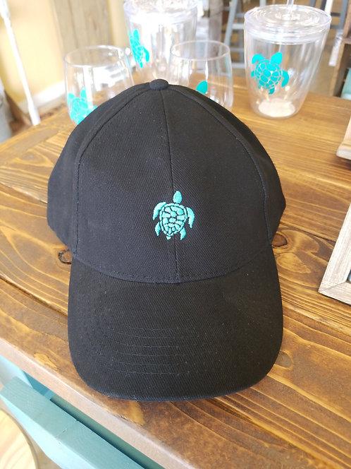 Sea turtle hat - black with adjustable strap