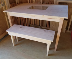 Glass insert dining table with bench