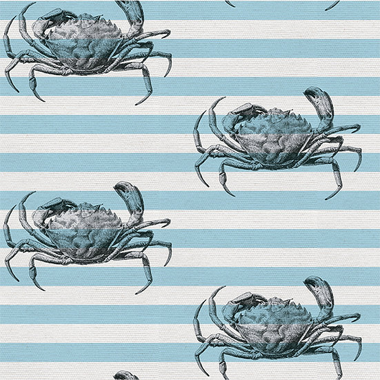 Cool Crab on Stripes. Colour: Sea Green