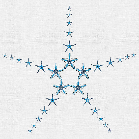 Starfish in Beads. Colour: Navy (Panel Print)