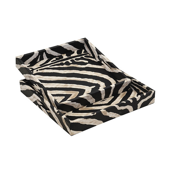 Set of Zebra Print Trays