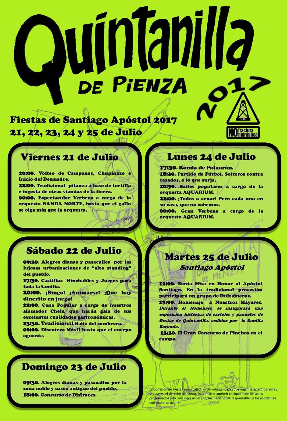 Cartel de fiestas de Quintanilla de Pienza 2017