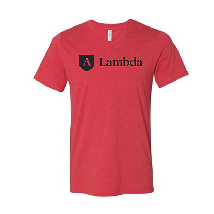 Lambda Logo V-Neck Tee -Red