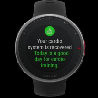 Recovery Pro™ gibt Aufschluss darüber, ob dein Körper bereit für Training ist, und zeigt Erholungsfeedback direkt auf deiner Uhr an. Es ist ein Polar Herzfrequenz-Sensor erforderlich.