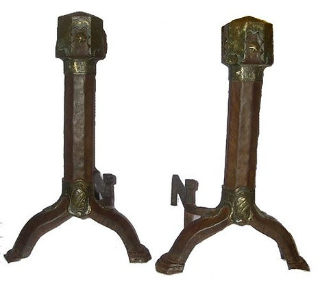 Arts and Crafts Bronze Andirons