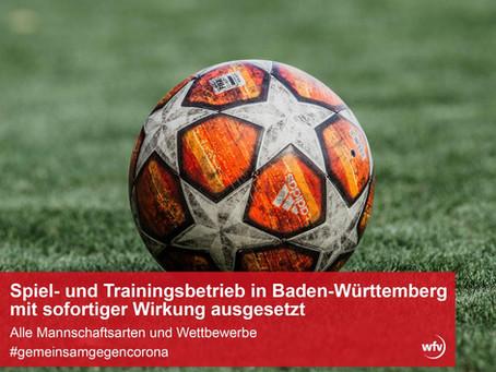 Spiel- und Trainingsbetrieb mit sofortiger Wirkung eingestellt