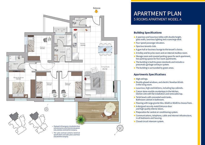 5 rooms apartment model A plan